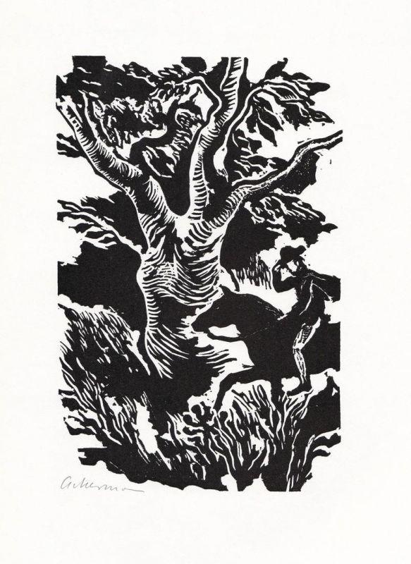 Linolschnitt von Helmut Ackermann zu Die Prärie am Jacinto aus Charles Sealsfield Das Kajütenbuch
