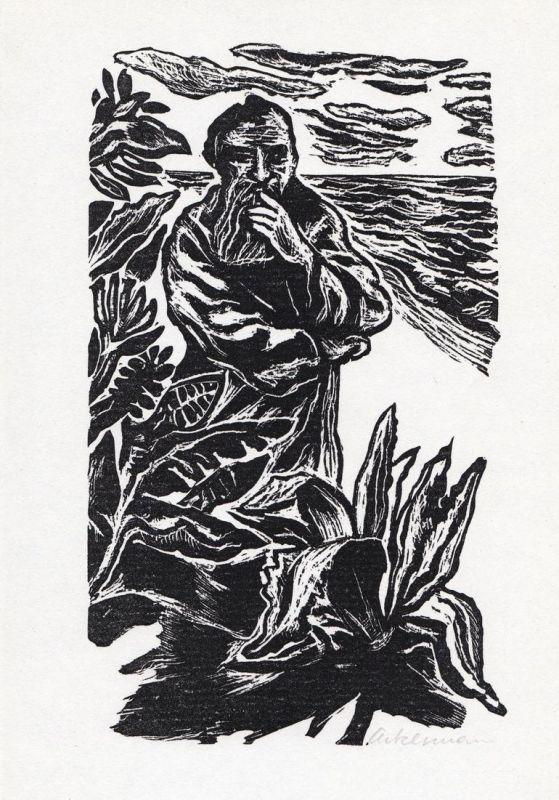 Linolschnitt von Helmut Ackermann zu Thornton Wilder Die Brücke von San Luis Rey