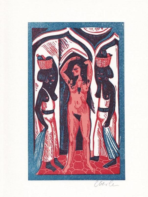 Original-Farblinolschnitt von Klaus Eberlein zu C.M. Wieland