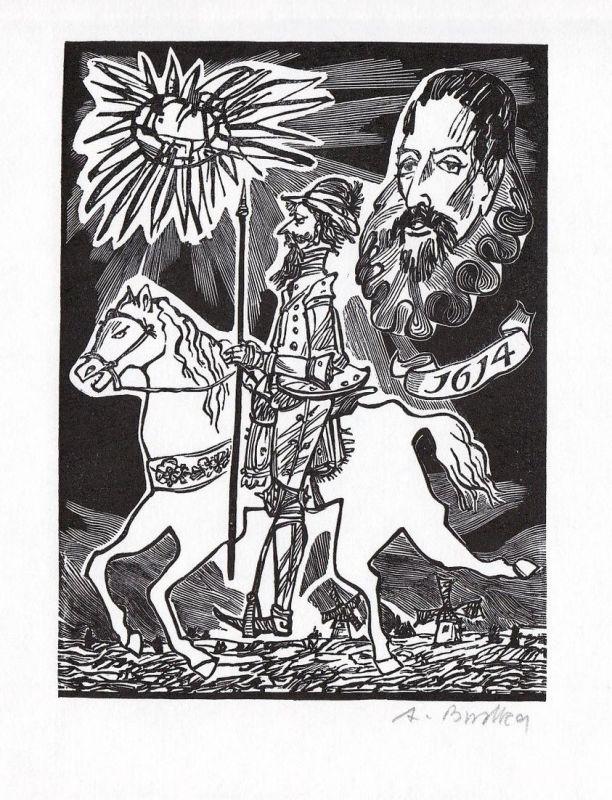 Original-Holzstich von Andreas Brylka zu einer Parabel von Jorge Luis Borges.