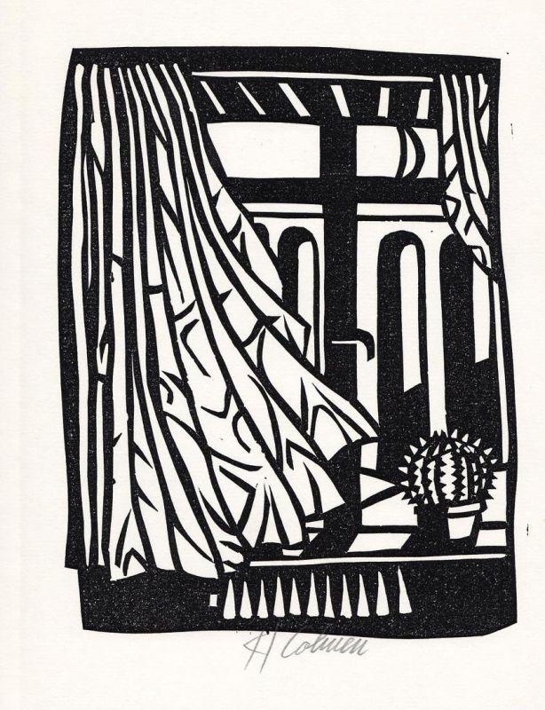 Original-Linolschnitt von Karl Cohnen zu einem Gedicht von Ingo Cesaro.