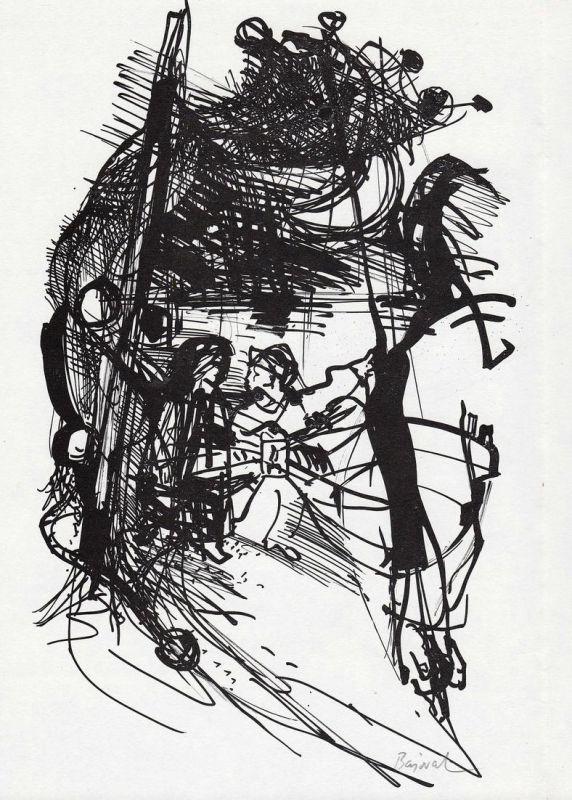 Rotaprintzeichnung von Archibald Bajorat zu Rudolf Naujok Der Herr der Düne
