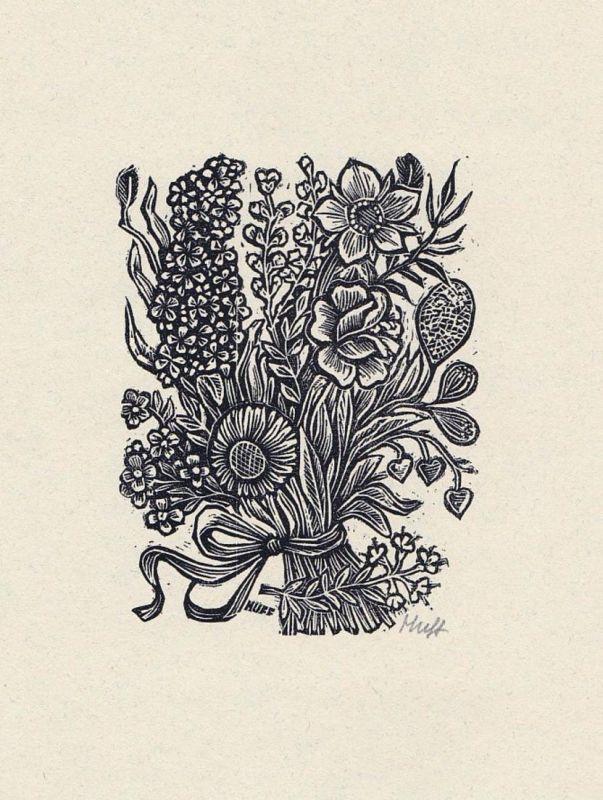 Original-Holzstich von Hermann Huffert zu einem Gedicht von Manfred Hausmann.