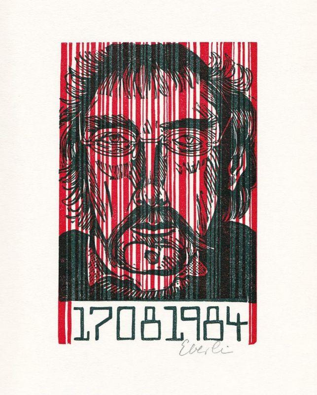 Zweifarben-Originallinolschnitt von Klaus Eberlein zu Orwell-Jahr.