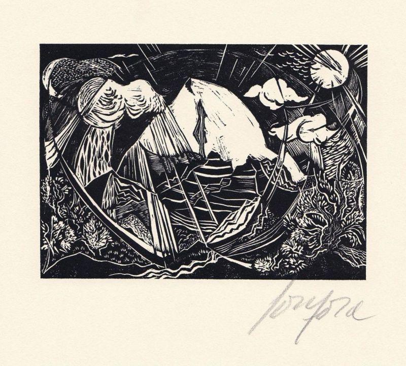 Original-Holzstich von Ruth Schefold zu Psalm 36.