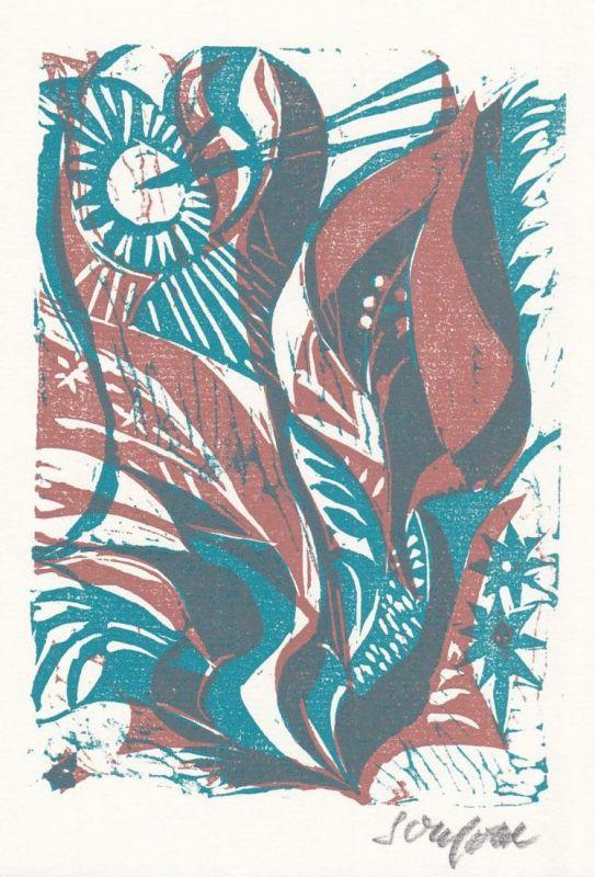 Original-Zweifarben-Linolschnitt von Ruth Schefold zu dem Gedicht Einer Blume von Hans Arp.