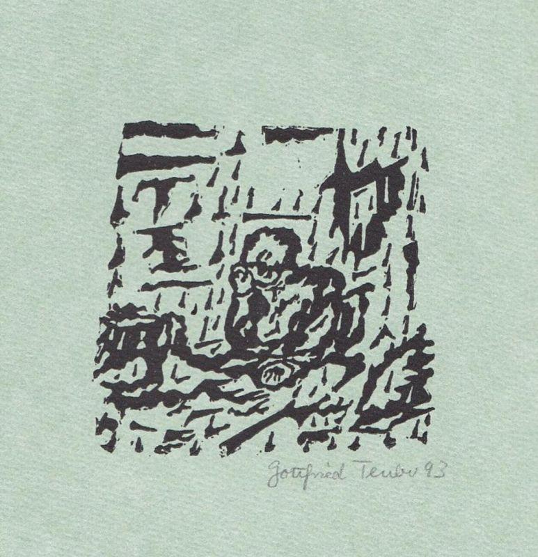 Original-Linolschnitt von Gottfried Teuber zu einem Gedicht von Wilhelm Busch.