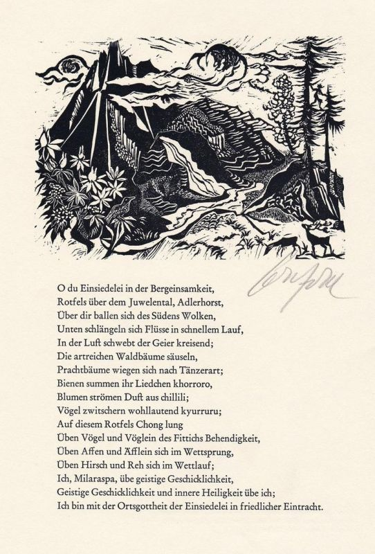 Original-Holzschnitt von Ruth Schefold zu einem der hunderttausend Gesänge des tibetanischen Yogi und Dichters