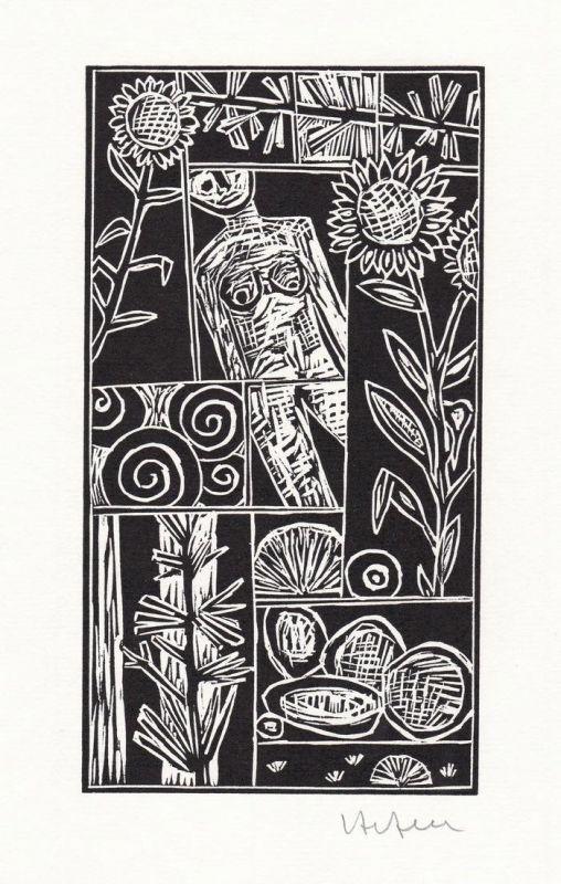 Original-Linolschnitt von Ignatz Hefele zu dem Gedicht Melancholie von Georg Trakl.