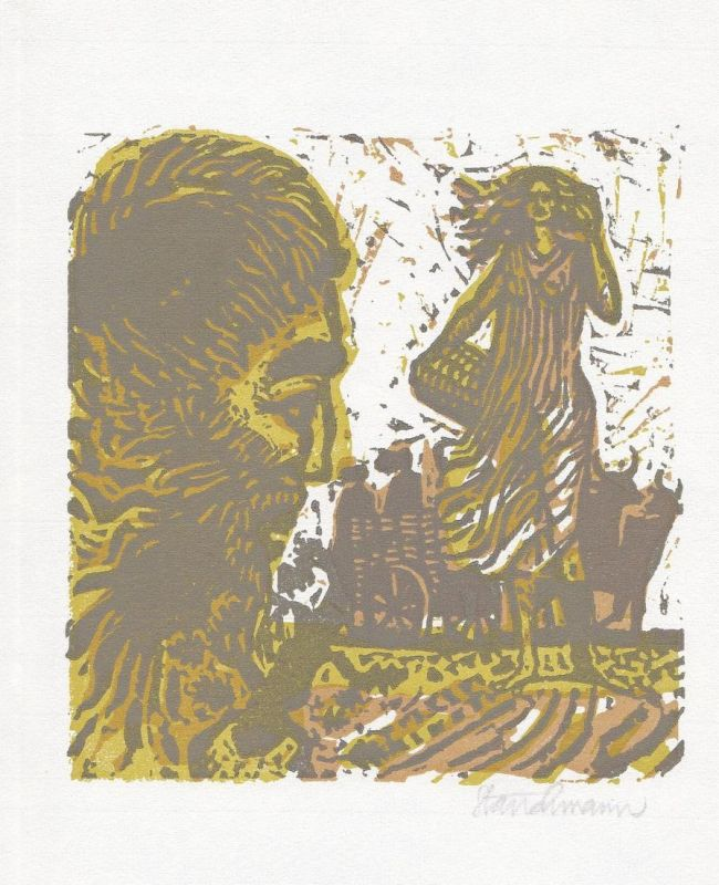 Original-Dreifarben-Linolschnitt von Went Strauchmann zu Homers Odyssee.