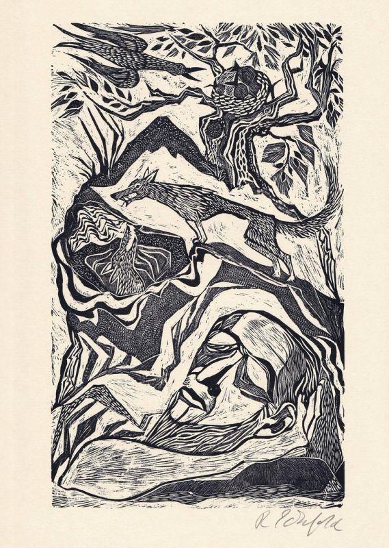 Original-Holzschnitt von Ruth Schefold.
