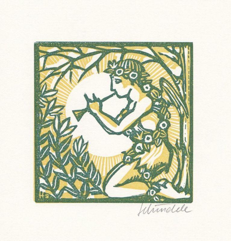 Zweifarben-Original-Linolschnitt von Heinz Schindele zu einem Gedicht von heinrich Heine.