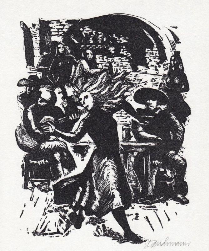 Linolschnitt von Went Strauchmann zu Thornton Wilder Die Brücke von San Luis Rey
