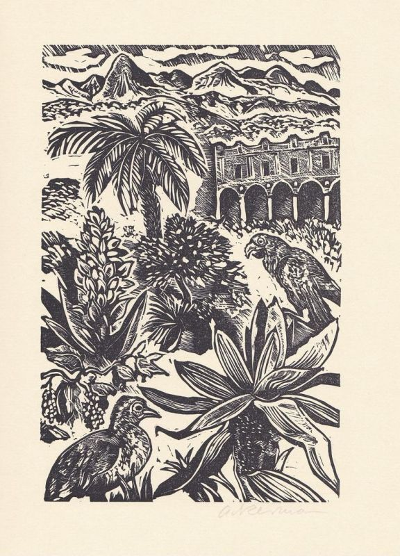Original-Linolschnitt von Helmut Ackermann zu Voltaire Candide