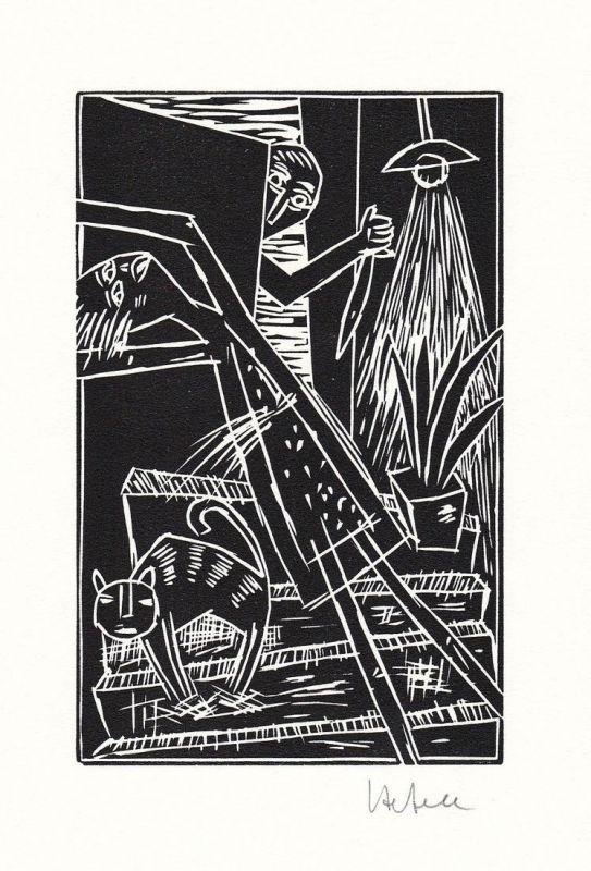 Original-Linolschnitt von Ignaz Hefele zu einem Gedicht von Frank Wedekind.