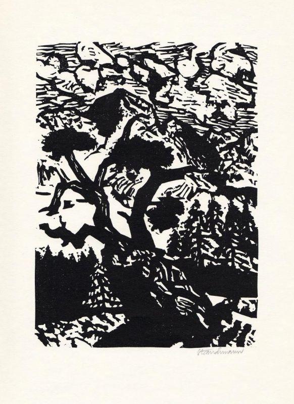 Linolschnitt von Went Strauchmann zu einem Gedicht von Isolde von Conta.