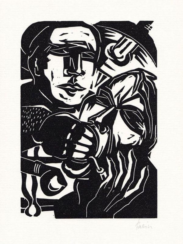 Original-Linolschnitt von Jan Prein zu einem Gedicht von Barthold Heinrich Brockes.