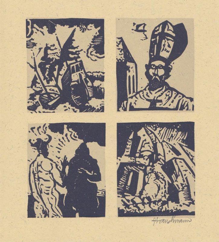 Zweifarben-Originallinolschnitt von Went Strauchmann zu Voltaire Candide