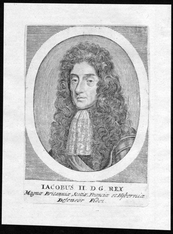 Iacobus II - James II England Scotland Ireland Jakob Portrait Kupferstich antique print