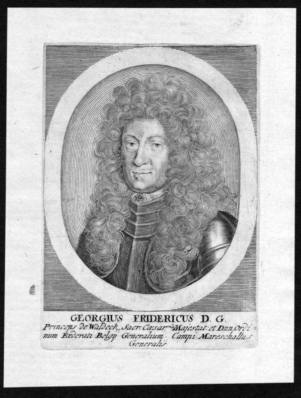 Georgius Fridericus - Georg Friedrich Waldeck Feldmarschall Portrait Kupferstich antique print