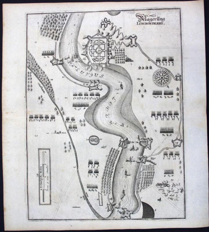 Belagerung Londonderry - Londonderry Ireland siege Ansicht view Kupferstich antique print