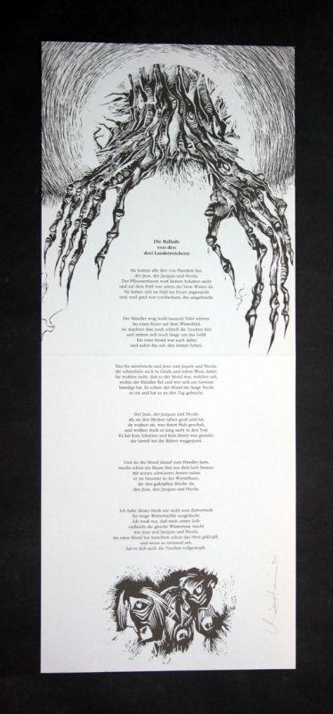 Original-Filmschabblatt und Gestaltung von Christoph Höner zu einem Gedicht aus den Lasterhaften Balladen von