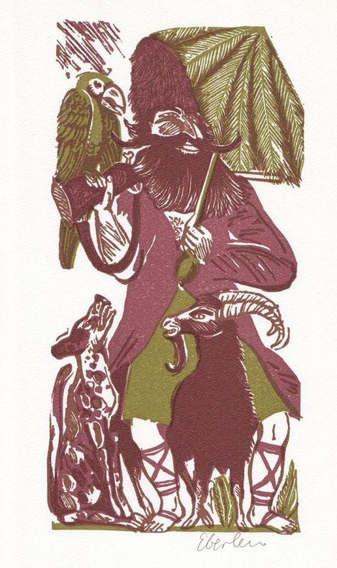 Dreifarben-Original-Linolschnitt von Klaus Eberlein zu Daniel Defoe Robinson Crusoe