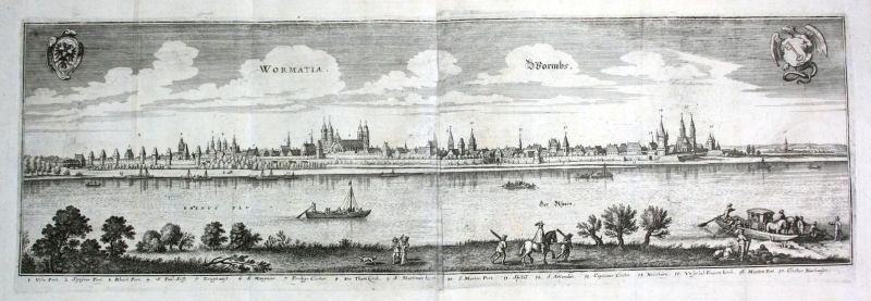 Wormatia / Wormbs - Worms Gesamtansicht Panorama Rhein Ansicht view Kupferstich antique print
