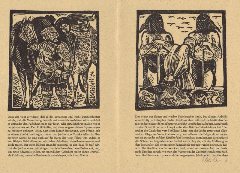 Zwei Original-Linolschnitte von Klaus Eberlein zu Heinrich von Kleist Michael Kohlhaas