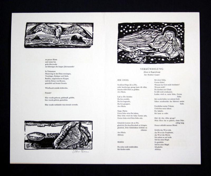 Fünf Originalholzschnitte von Klaus Eberlein zu Gedichten von Herbert Günther.