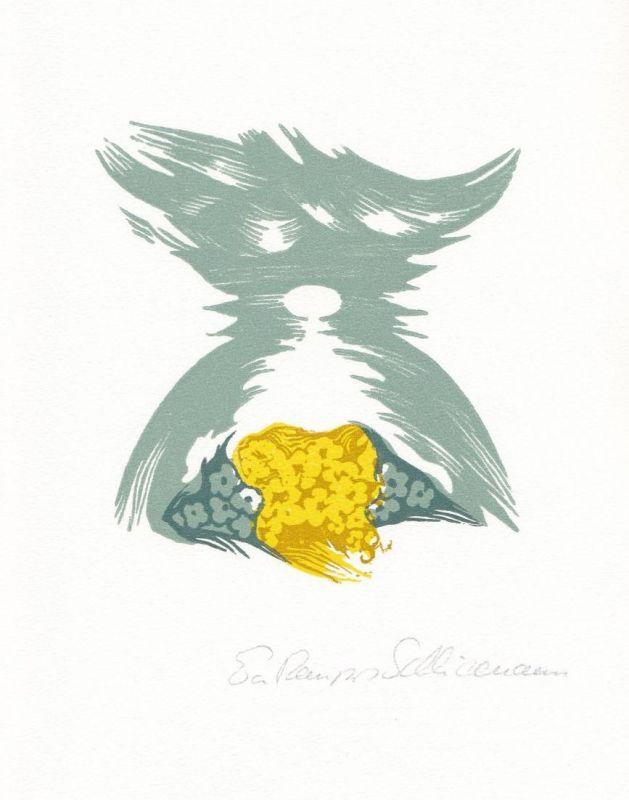 Dreifarben-Original-Linolschnitt von Eva Schliemann zu einem Gedicht von Fritz Usinger.