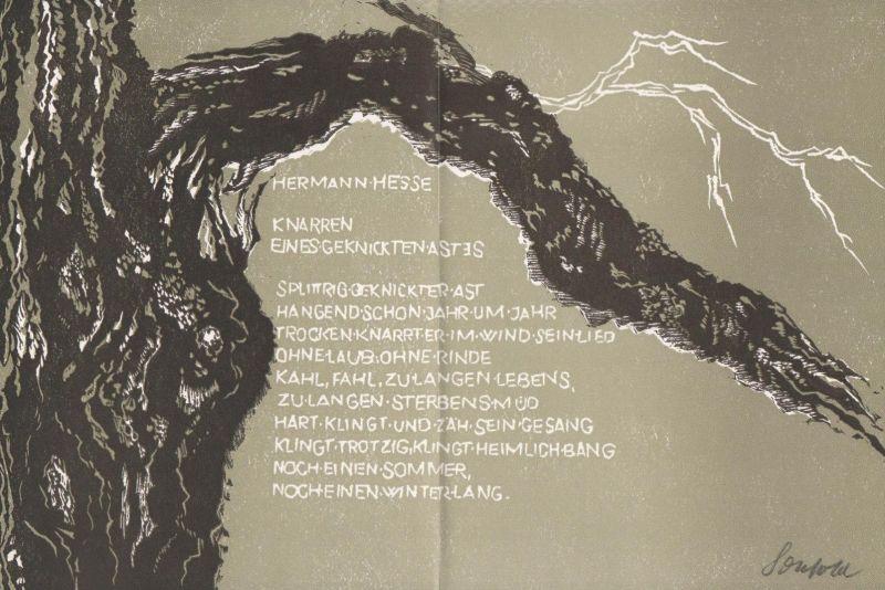 Original-Linolschnitt von Ruth Schefold zu Hermann Hesse Knarren eines geknickten Astes