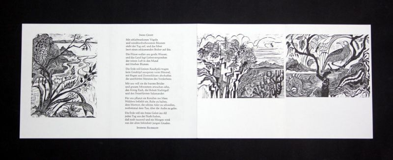 Sechs Original-Holzstiche von Ruth Schefold zu dem Gedicht Freies Geleit