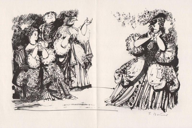 Lithographie von Fritz Bauer zu Carlo Goldoni Einer der letzten Abende im Karneval