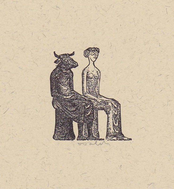 Original-Holzstich von Hans-Joachim Walch zu der Elegie Kouros von Erich Arendt.