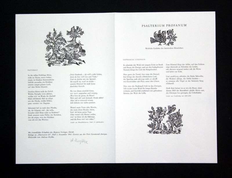 Original-Holzstiche von Andreas Brylka zu Gedichten des lateinischen Mittelalters.