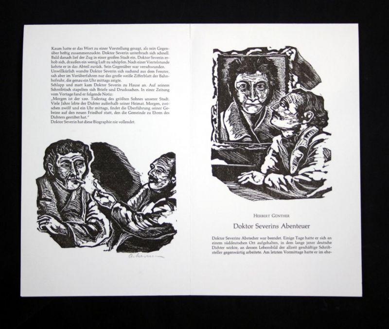 Drei Linolschnitte von Helmut Ackermann zu Herbert Günther Doktor Severins Abenteuer.