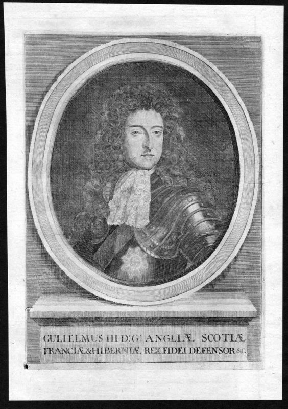 Gulielmus III - William III of England Willem Ireland Scotland Portrait Kupferstich antique print