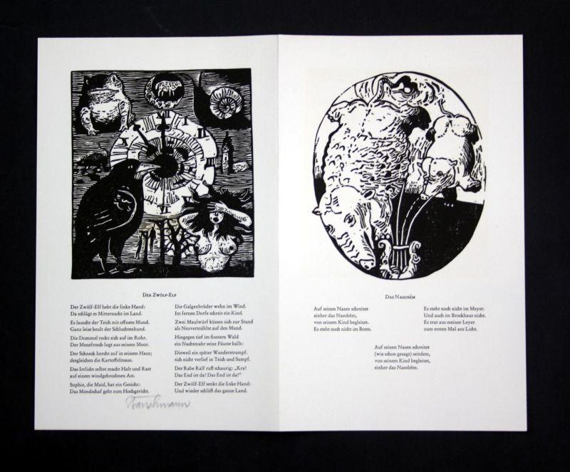 Original-Linolschnitt von Went Strauchmann zu Das Nasobem