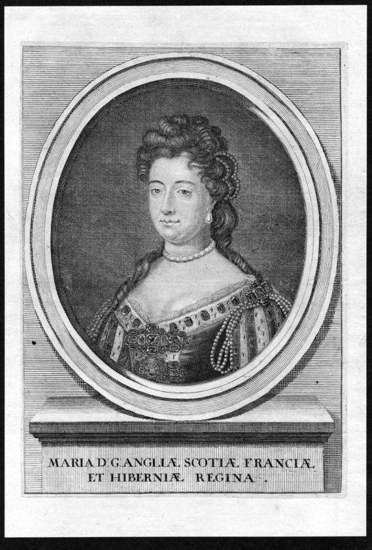 Maria - Mary II of England Ireland Scotland Portrait Kupferstich antique print
