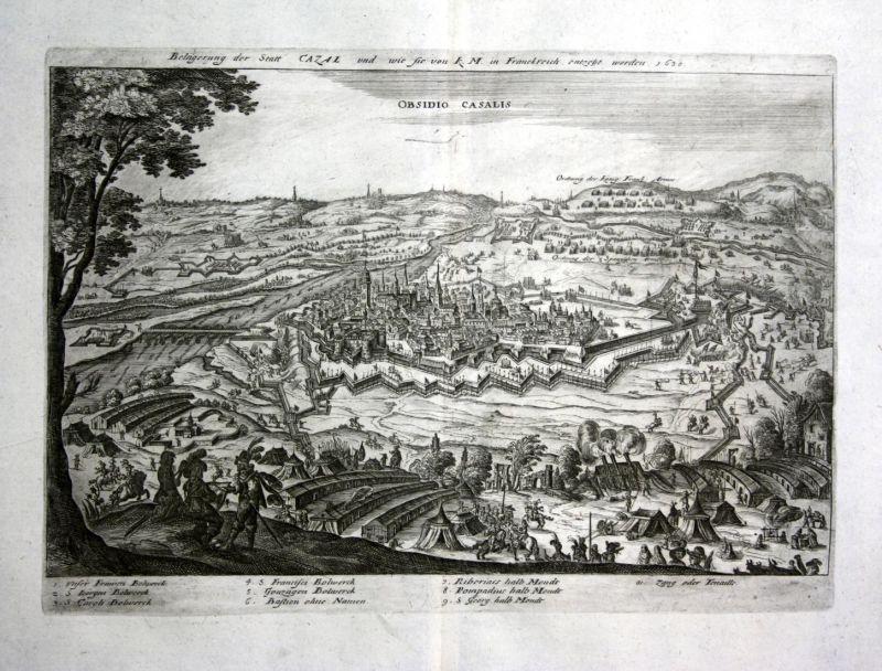 Obsidio Casalis - Casale Monferrato veduta incisione Ansicht view stampa acquaforte Kupferstich antique print