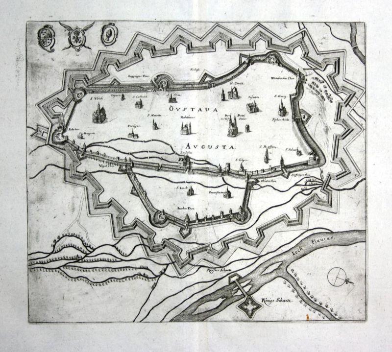 Gustaua Augusta - Augsburg plan Ansicht view Kupferstich antique print
