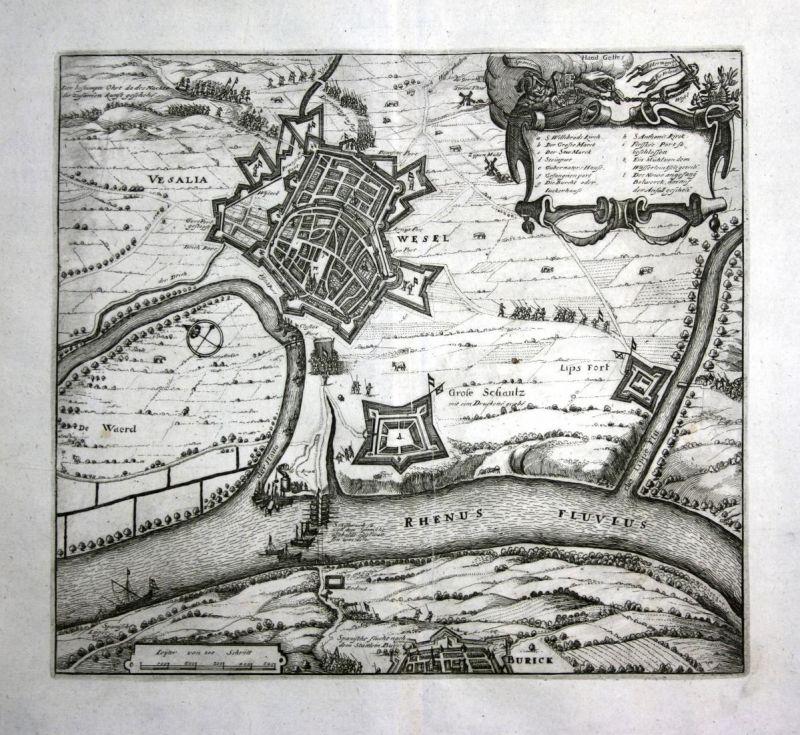 Wesel - Wesel plan map Rhein Ansicht view Kupferstich antique print