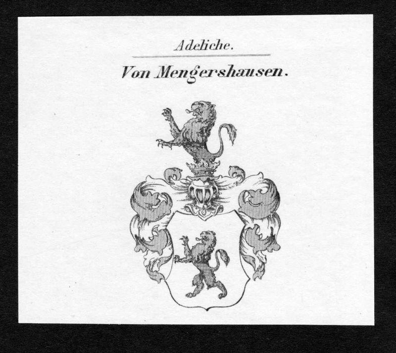 Von Mengershausen - Mengershausen Wappen Adel coat of arms Kupferstich antique print heraldry Heraldik