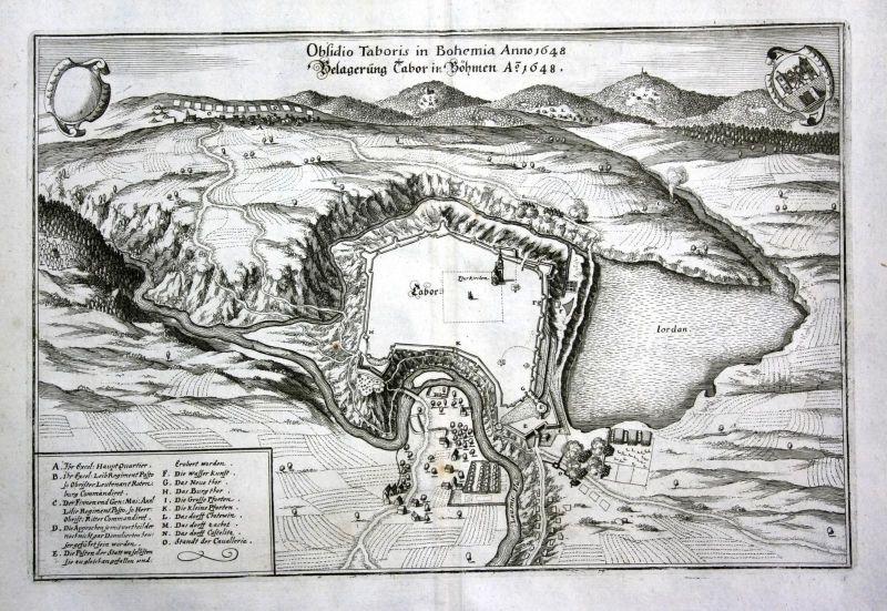 Belagerung Tabor in Böhmen A° 1648 - Tabor Belagerung siege Czech Ansicht Plan view Kupferstich antique print