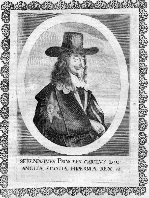 Carolus Angliae Scotiae Hiperniae - Charles I of England Scotland Ireland Portrait Kupferstich antique print