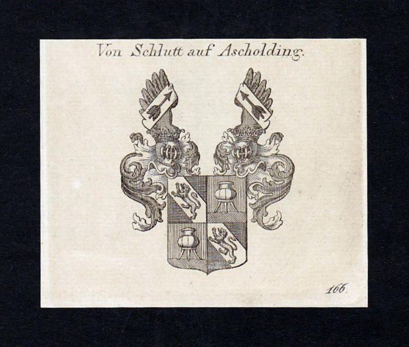 Von Schlutt auf Ascholding - Schlümbach Schlutt Ascholding Wappen Adel coat of arms heraldry Heraldik Kupferst