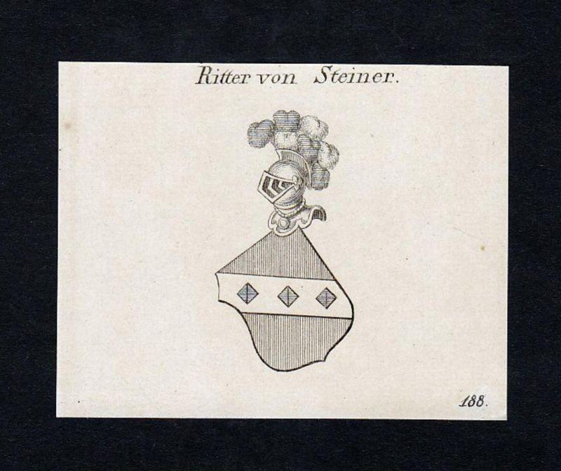 Ritter von Steiner - Steiner Joseph Ritter Wappen Adel coat of arms heraldry Heraldik Kupferstich engraving