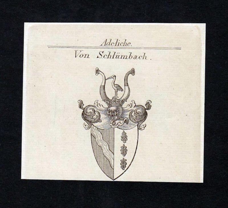 Von Schlümbach - Schlümbach Schlutt Ascholding Wappen Adel coat of arms heraldry Heraldik Kupferstich engravin