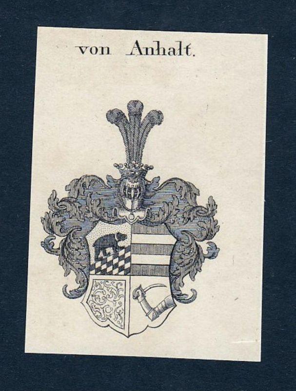 Von Anhalt - Anhalt Wappen Adel coat of arms heraldry Heraldik Kupferstich engraving